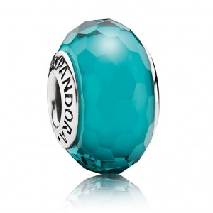 Pandora Beads Dazzling Murano Glass Teal Faceted Charm Jewelry