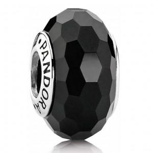 Pandora Beads Murano Glass Black Faceted Charm Jewelry