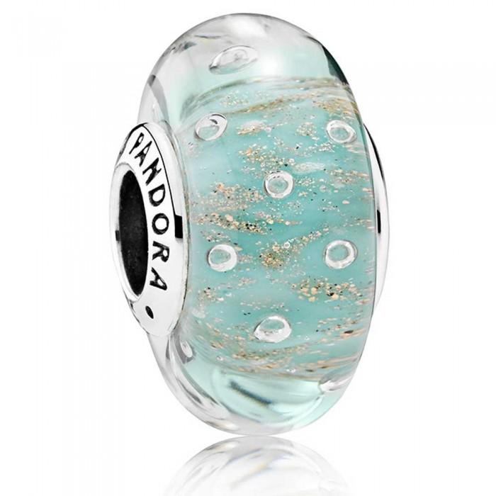 Pandora Beads Murano Glass Mint Glitter Charm Jewelry