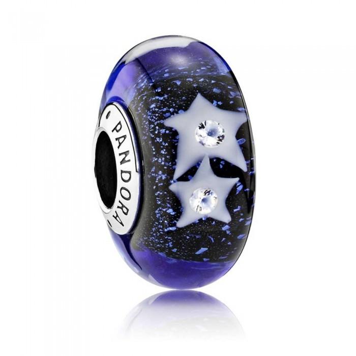 Pandora Beads Murano Glass Night Sky Moon and Stars Charm Jewelry