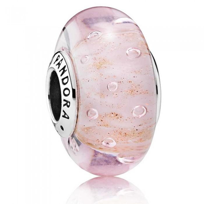 Pandora Beads Murano Glass Pink Glitter Charm Jewelry