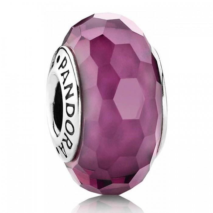 Pandora Beads Murano Glass Purple Faceted Charm Jewelry