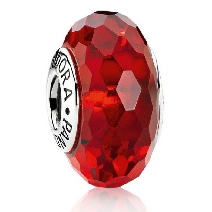Pandora Beads Murano Glass Red Faceted Charm Jewelry