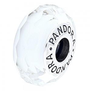 Pandora Beads Murano Glass White Facted Charm Jewelry