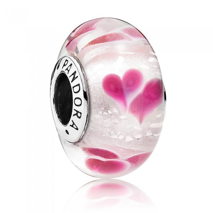 Pandora Beads Murano Glass Wild Hearts Love Charm Jewelry