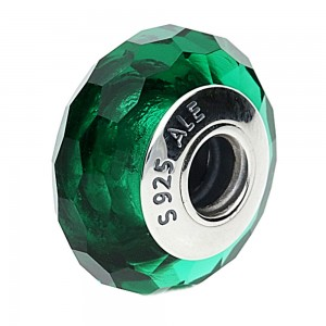 Pandora Beads Sparkling Murano Glass Green Faceted Charm Jewelry