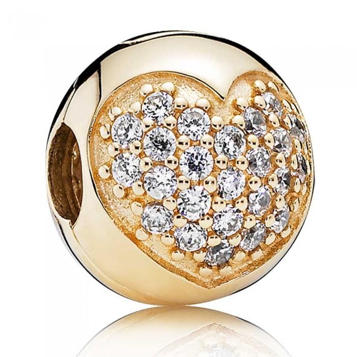 Pandora Clips Heart Love Cubic Zirconia Gold Jewelry