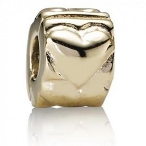 Pandora Clips Heart Love Gold Jewelry