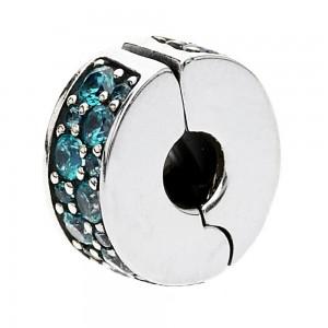 Pandora Clips Oceanic Teal Shining Elegance Cubic Zirconia Jewelry