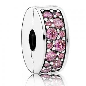 Pandora Clips Oriental Bloom Honeysuckle Pink Shining Elegance Floral Jewelry