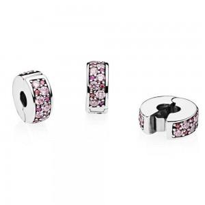 Pandora Clips Purple Mosaic Shining Elegance Cubic Zirconia Jewelry