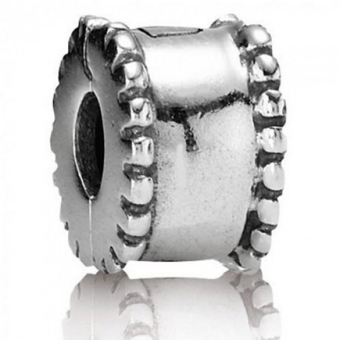 Pandora Clips Silver Beaded Edge Jewelry