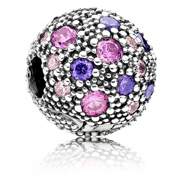 Pandora Clips Silver Fancy Purple Cosmic Stars Jewelry