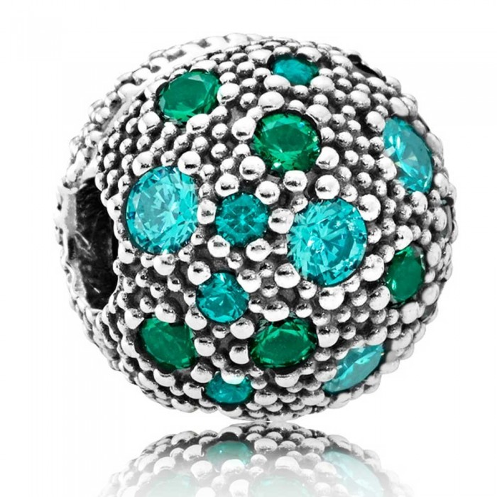 Pandora Clips Silver Green Cosmic Stars Jewelry