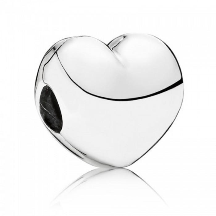 Pandora Clips Silver Matt Polished Heart Love Jewelry