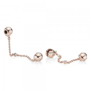 Pandora Charm Embossed Hearts Safety Chain Rose Clear CZ Jewelry