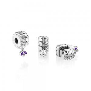 Pandora Charm Grains of Energy Clip Clear CZ Purple Enamel Jewelry