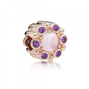 Pandora Charm Heraldic Radiance Rose Pink Purple Crystals Jewelry