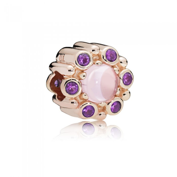 Pandora Charm Heraldic Radiance Rose Pink Purple Crystals Jewelry