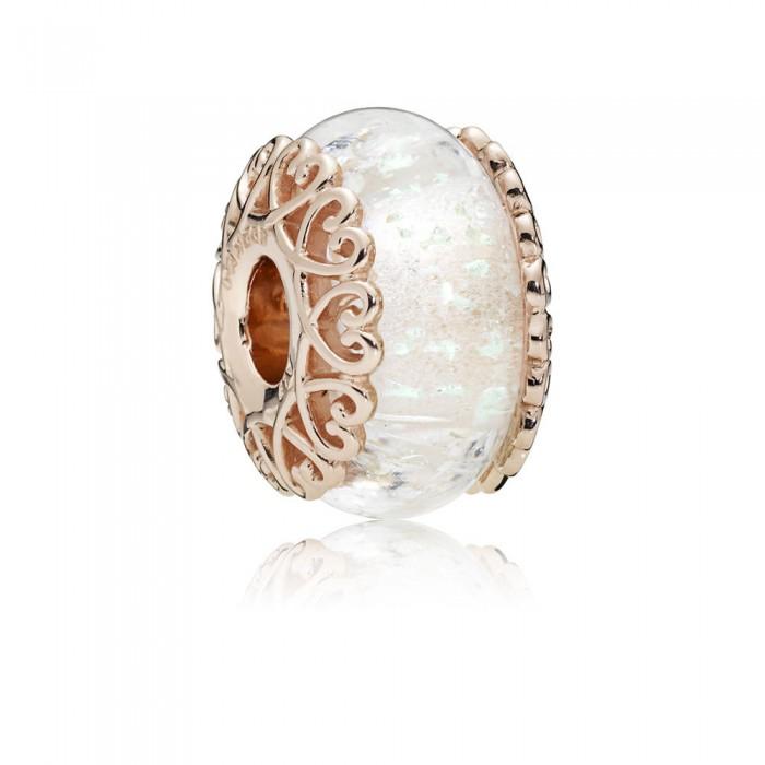 Pandora Charm Iridescent White Glass Rose Jewelry