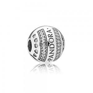 Pandora Charm Logo Hearts Clip Clear CZ Jewelry