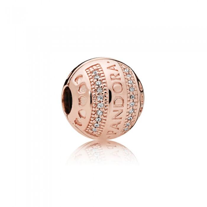 Pandora Charm Logo Hearts Clip Rose Clear CZ Jewelry