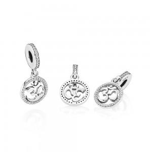 Pandora Charm Om Symbol Dangle Clear CZ Jewelry