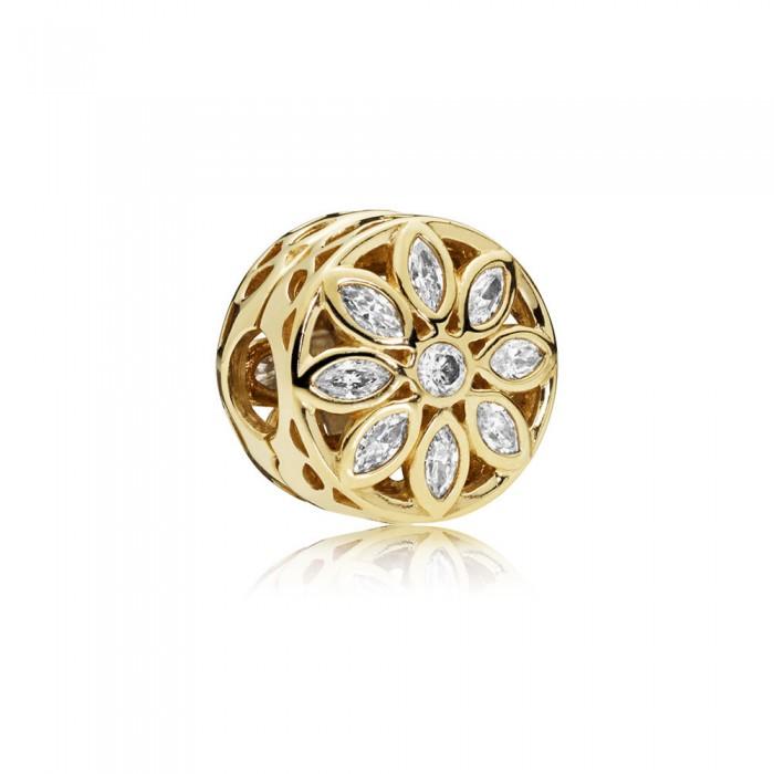 Pandora Charm Opulent Flower 14K Gold Clear CZ Jewelry
