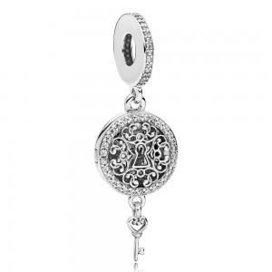 Pandora Charm Regal Love Key Dangle Clear CZ Jewelry