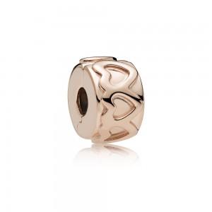 Pandora Charm Row of Hearts Clip Rose Jewelry