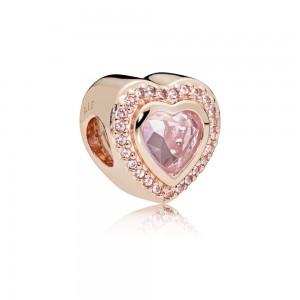 Pandora Charm Sparkling Love Rose Pink Crystal Jewelry