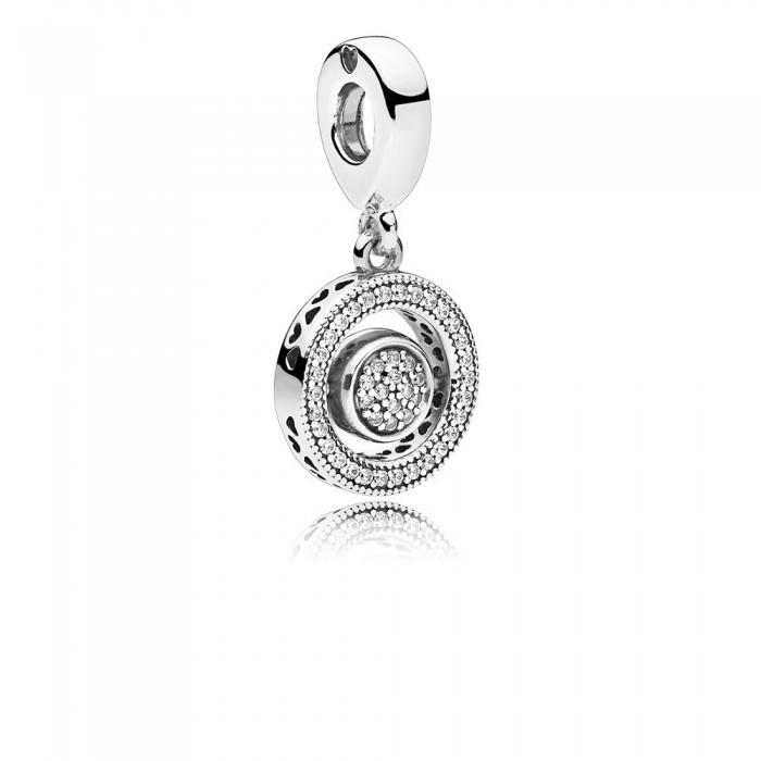 Pandora Charm Spinning Signature Dangle Clear CZ Jewelry