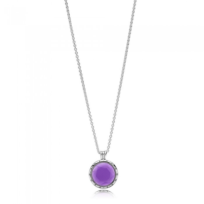 Pandora Necklace Faceted Locket Synthetic Amethyst Jewelry