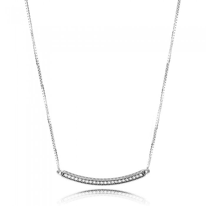 Pandora Necklace Hearts of Bar Clear CZ Jewelry