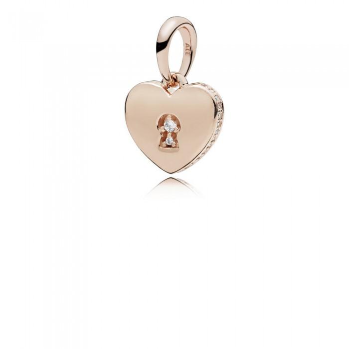 Pandora Necklace Shimme Keyhole Pendant Rose Clear CZ Jewelry