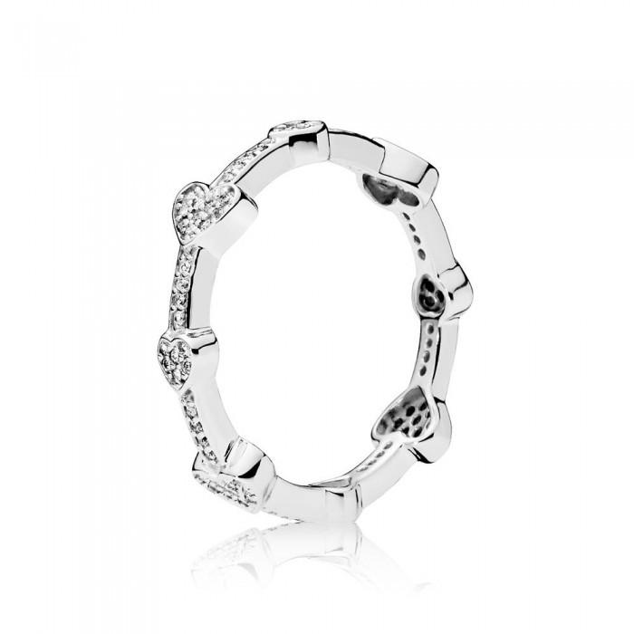 Pandora Ring Allu Hearts Clear CZ Jewelry