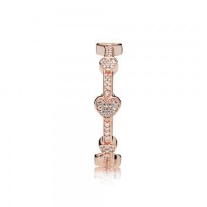 Pandora Ring Allu Hearts Rose Clear CZ Jewelry