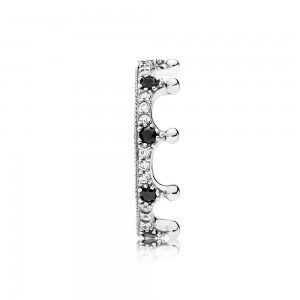 Pandora Ring Enchanted Crown Clear CZ Black Crystals Jewelry