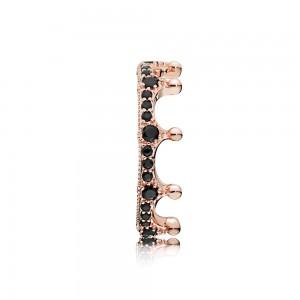Pandora Ring Enchanted Crown Rose Black Crystal Jewelry