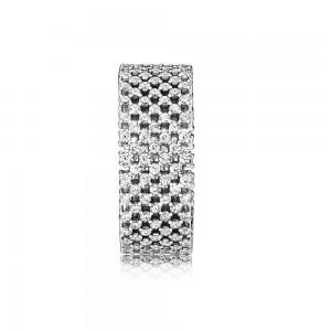 Pandora Ring Heraldic Check Clear CZ Jewelry