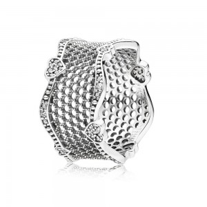 Pandora Ring Lace of Love Clear CZ Jewelry
