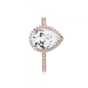 Pandora Ring Radiant Teardrop Rose Clear CZ Jewelry