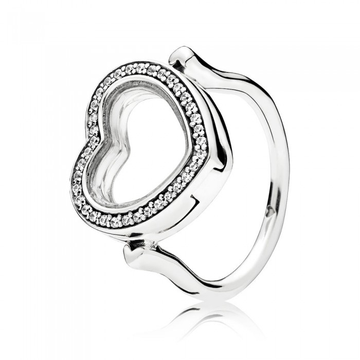 Pandora Ring Sparkling Floating Heart Locket Clear CZ Jewelry