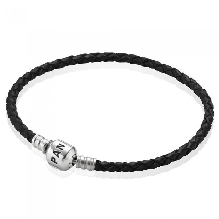 Pandora Bracelet Black Braided Leather Jewelry