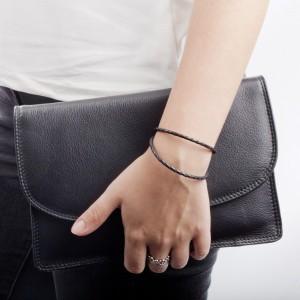 Pandora Bracelet Black Triple Leather Jewelry