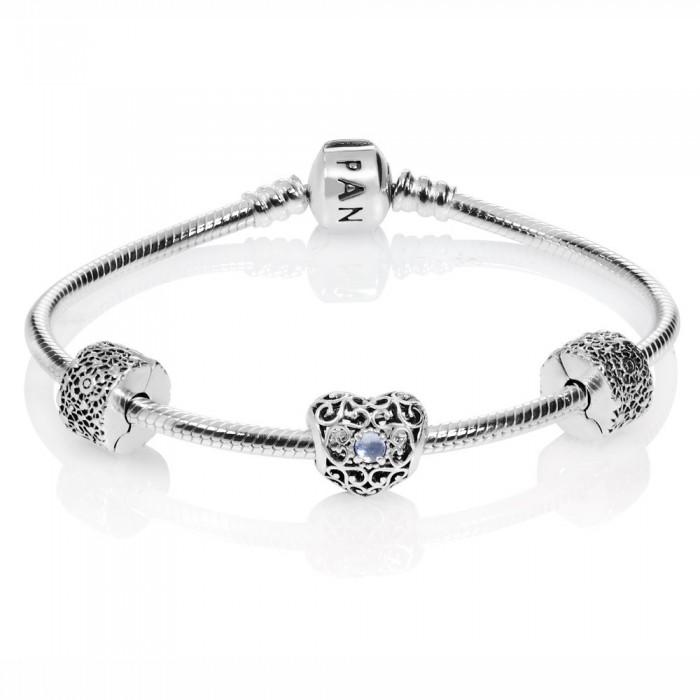 Pandora Bracelet Silver March Birthstone Birthstone Complete Jewelry
