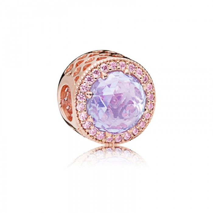 Pandora Charm Lavender Radiant Hearts Rose Lavender Pink CZ Jewelry