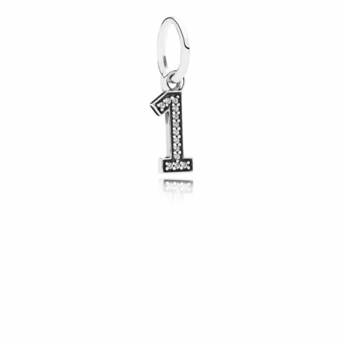 Pandora Charm Number 1 Dangle Clear CZ Jewelry