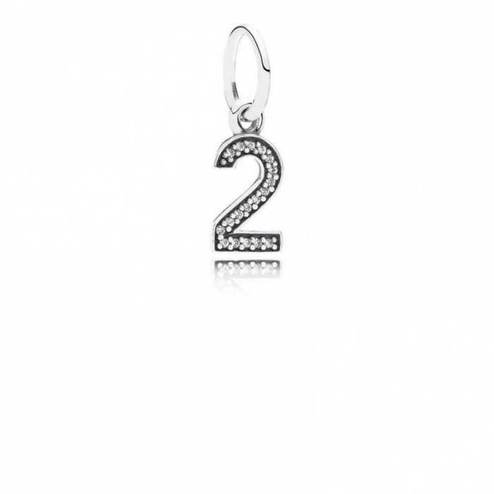 Pandora Charm Number 2 Dangle Clear CZ Jewelry