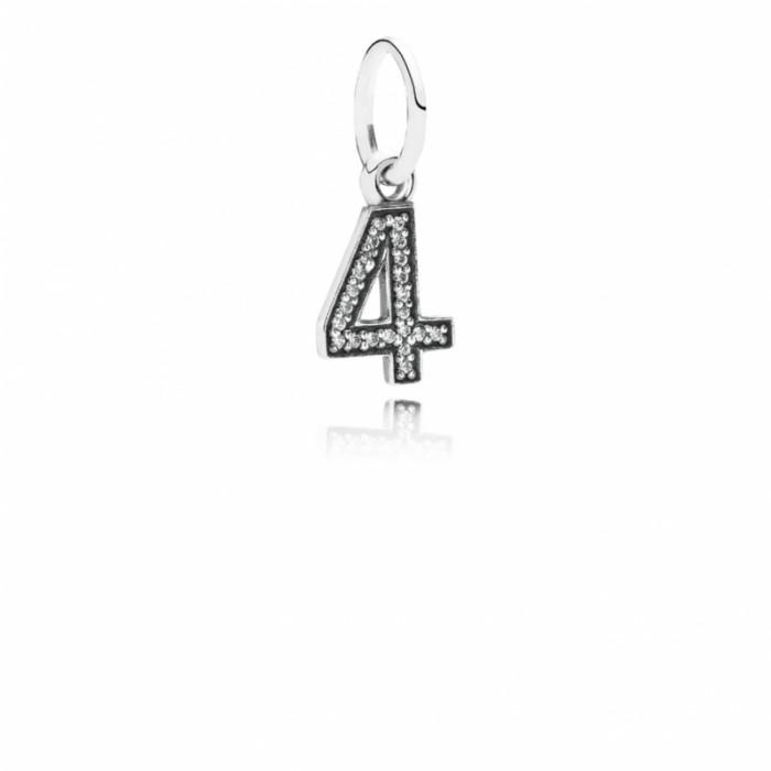 Pandora Charm Number 4 Dangle Clear CZ Jewelry